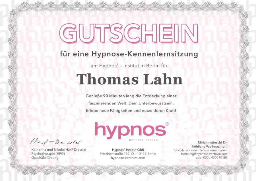 Hypnose-Kennenlernsitzung Gutschein maskulin